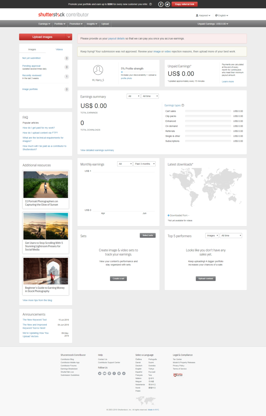 Dashboard of Shutterstock contributor's panel