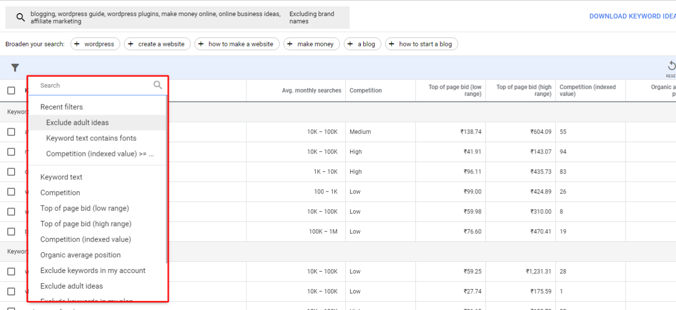How to use Google keyword planner?